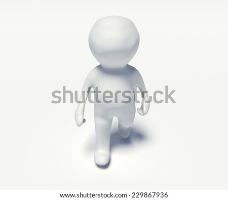 small people 3d - 3d little person walking on a white background - stock photo