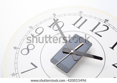 smart phone with Clock, Mobile smart phone on White background digital and analog  - stock photo