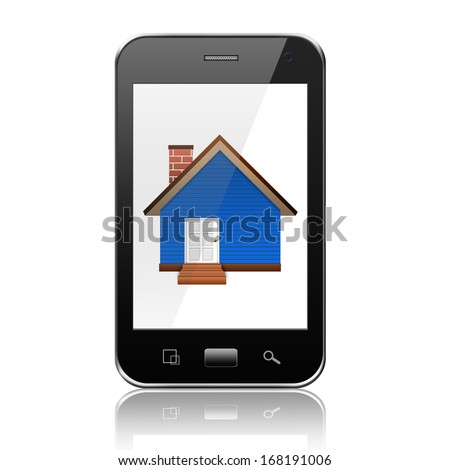 Smartphone with home on display,cell phone illustration - stock photo