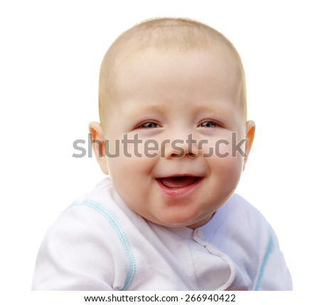 smiling cute baby isolated on white