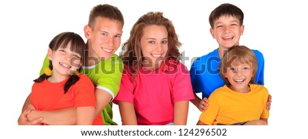 Smiling group of children - stock photo