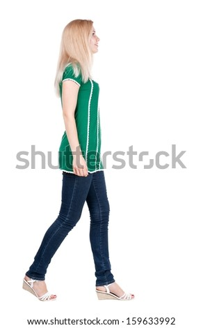 smiling walking  woman. beautiful blonde girl in motion.  front view of person.  Isolated over white background.  - stock photo