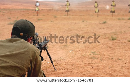 Sniper at militery training. - stock photo