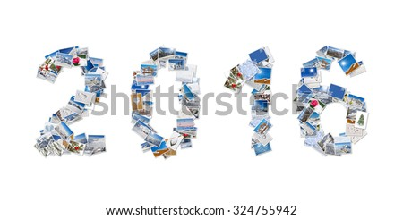 2016, snow and winter stack of photos isolated on white background