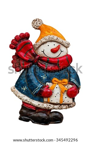 Snowman with a gift in hand isolated on a white background . - stock photo