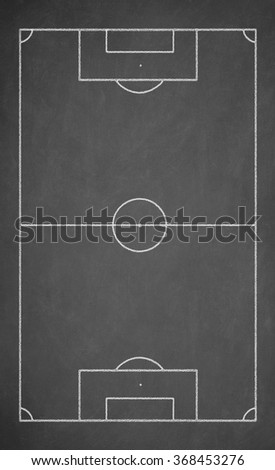 Soccer board drawn with white chalk on a blackboard - stock photo