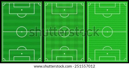 3 soccer fields - stock photo