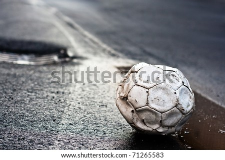 ,soccer in road, - stock photo