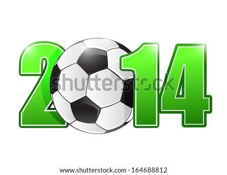 2014 soccer or football ball sign illustration design over white - stock photo