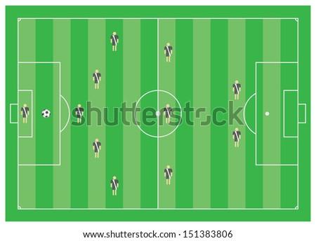5-3-2 soccer tactical scheme - stock photo