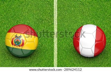 2015 soccer tournament, teams Bolivia vs Peru - stock photo