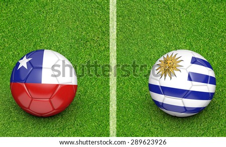2015 soccer tournament, teams Chile vs Uruguay - stock photo
