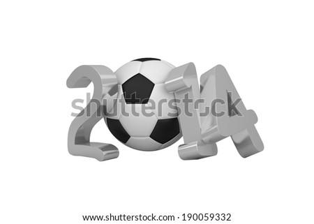 2014 soccer white background - stock photo