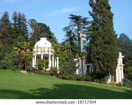 Sochi 2008. A botanical garden with different kinds of trees and bushes. Russia, Sochi - stock photo