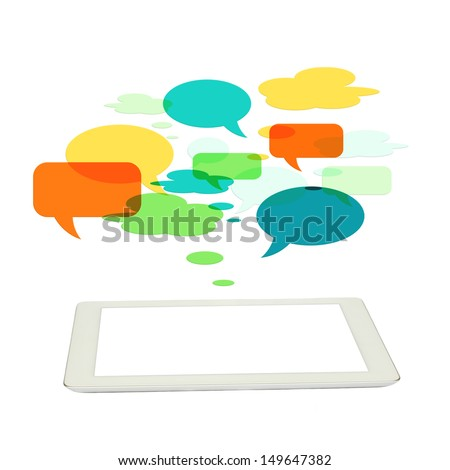 social media concept with  tablet and speech bubbles isolated on white background