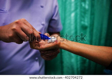 Soft focus and the background blurred nurses are contiguous with lesions of patients with wounds caused by an accident. - stock photo
