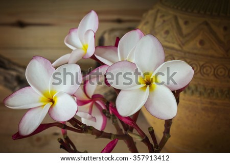 (Soft sepia and antique colour tone) Sweet pink yellow flower plumeria or frangipani bunch with old vintage baked clay vase and wood background - stock photo