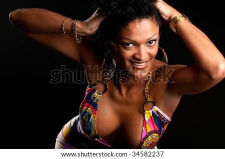 30 Something very sensual hispanic brunette woman posing. - stock photo