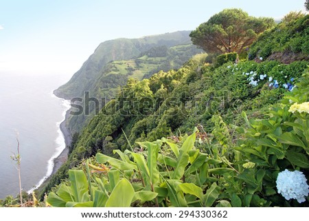 Sossego lookout Sao Miguel island Azores Portugal - stock photo