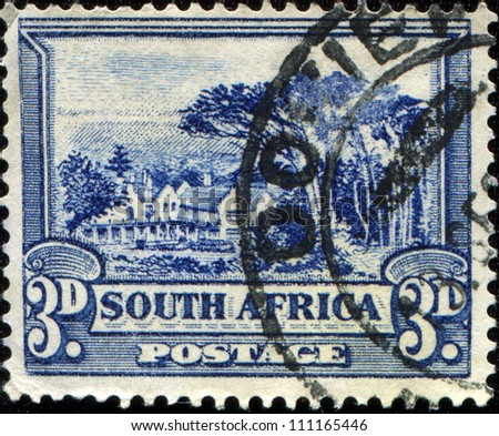 SOUTH AFRICA - CIRCA 1939: A stamp printed in South Africa shows Bilingual pairs, Groot Schuur, circa 1939