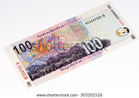 100 South African rands bank note. South African rands is the national currency of South Africa