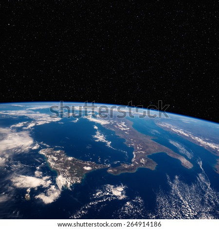 Southern Italy with Sicily from space with stars above. Elements of this image furnished by NASA.  - stock photo