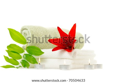 spa with red lily on white background - stock photo