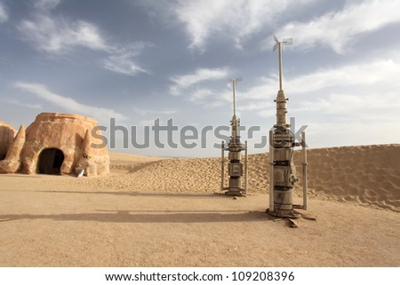 Space port in the desert Sahara Desert, Tunisia