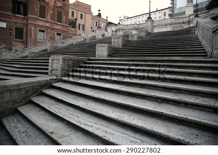 Spanish square with Spanish Steps  in Rome Italy, piazza Spagna - stock photo