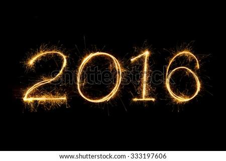 2016 Sparkle firework text - stock photo