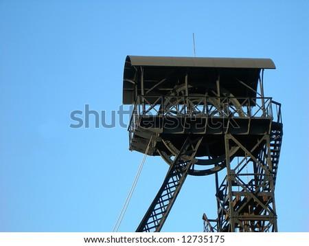Special mining tower near Czech uranium mines in Pribram - stock photo