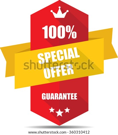 100% special offer red Label, Sticker, Tag, Sign And Icon Banner Business Concept, Design Modern With Crown.  - stock photo