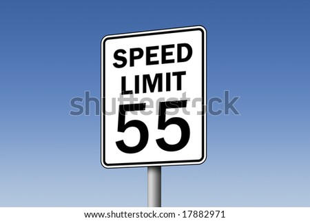 55 speed limit road sign against blue sky - stock photo