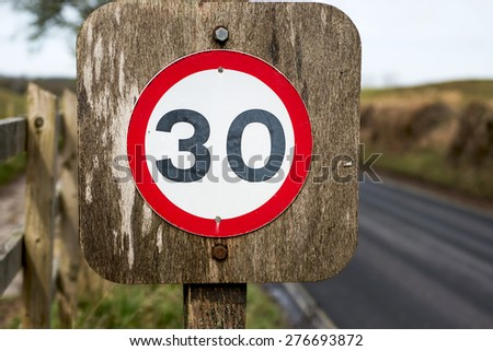 30 Speed Road Sign - stock photo
