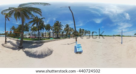 360 spherical image of volley ball courts Miami Beach - stock photo