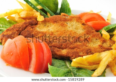 spiced schnitzel with tomato lettuce - stock photo