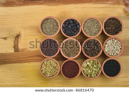 12 spices on a wooden board
