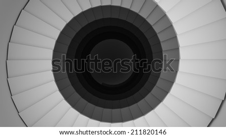 spiral staircase in a white glossy black walls 3d - stock photo