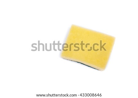 sponge wash dishes household  for cleaning on white background - stock photo