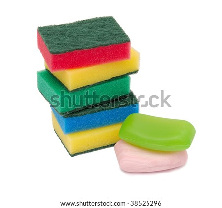 sponges and soap on a white background