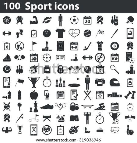 100 sport icons set, black, on white background - stock photo