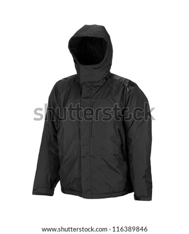 sport jacket with hood isolated on white background - stock photo