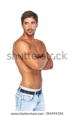 Sporty young man with muscular naked torso. Isolated on white background.