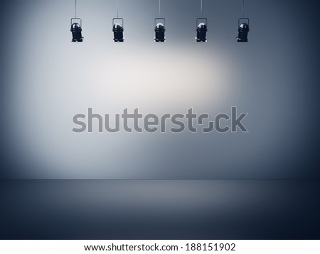 Spotlight background with lamps - stock photo
