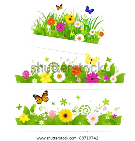 3 Spring Flower Bouquet, Isolated On White Background