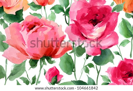 spring flowers hand painted watercolor roses - stock photo