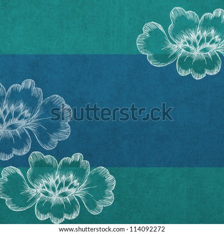 square tropical floral wedding or party invitation background in blue and green - stock photo