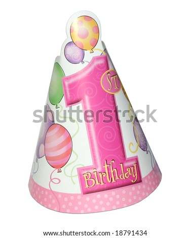 1st birthday party hat for a girl isolated on white background - stock photo