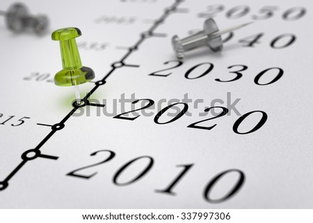 21st Century timeline over white paper background with green pushpin pointing the year 2020, blur effect, conceptual image. - stock photo