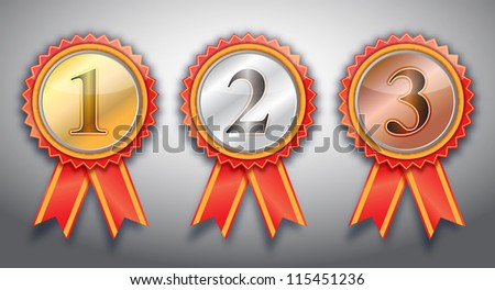 1st,2nd,3rd awards  ribbon . - stock photo